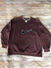Vtg 90s Nike Big logo Swoosh Crewneck Sweatshirt BrownEmbroidered Medium OG