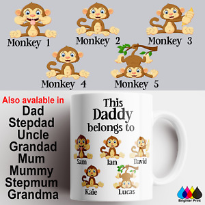 Monkey Mug Cup Fathers Day Birtday Gift Personalised Dad Daddy Mum Uncle Grandad