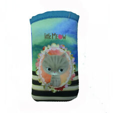 LITTLE MEOW portacellulare da infilare azzurro con gattino in tessuto 7x13 cm