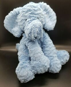 """Jellycat blue elephant plush stuffed sitting 8"""" with beans in bottom"""