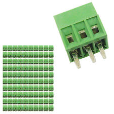 100 pcs 2.54mm Pitch 150V 6A 3P Poles PCB Screw Terminal Block Connector Green
