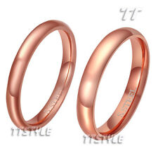 TTstyle Rose Gold S.Steel Comfort fit Plain Band Ring Width 2mm-4mm Size 2-13