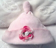 NEW GYMBOREE VELOUR CAP BEANIE HAT 0 3 MONTHS GIRLS BABY INFANT NEWBORN PINK