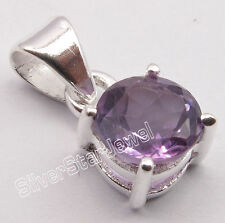"""Amethyst Factory Direct 4-Prong Pendant 0.6"""" 925 Pure Silver High End Purple"""