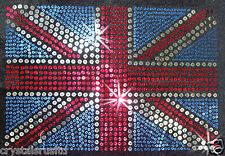 2x HGE UK England Union Jack Drapeau sequin spangle Fer-Sur Perle T-Shirt Transfert
