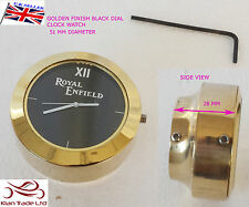 NEW ROYAL ENFIELD LOGO BLACK DIAL BRASS STEM NUT/HANDLE T NUT CLOCK WATCH CLOCK