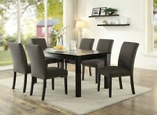 Contemporary Wooden Dining Table Ash Black Chairs 7pc Dining Set Side Chair