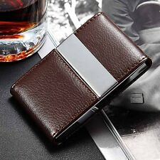 Pocket Leather Stainless Steel Business Card Cigarette Case Holder Storage Box