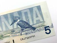 1986 Canada 5 Dollar Uncirculated ENJ Crow Bouey Yellow BPN Banknote Five R814