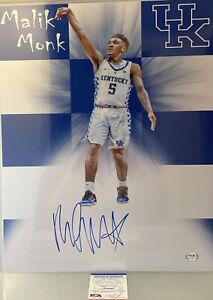 Malik Monk Kentucky Wildcats Autographed 16x20 Custom Photo PSA/DNA Cert