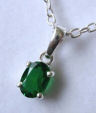 GENUINE SOLID 925 STERLING SILVER EMERALD MAY BIRTHSTONE BIRTHDAY PENDANT