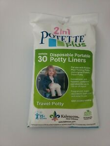 2 in 1 Potette Plus Disposable Portable Potty Liners, 30 Ct. Travel Toilet