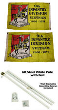 2x3 2'x3' 9th Infantry Division 2ply Flag White Pole Kit Gold Ball Top
