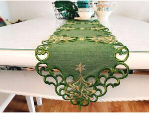 Pretty Golden Thread X'mas Tree Embroidery Flower Cutwork Green Table Runner L