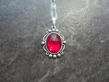 """VINTAGE WEST GERMANY RUBY RED GLASS STONE NECKLACE 18"""" CHAIN"""