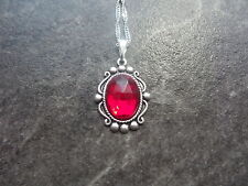 "VINTAGE WEST GERMANY RUBY RED GLASS STONE NECKLACE 18"" CHAIN"