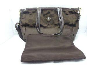 Coach Signature Monogram Baby Diaper With Changing Pad Brown Bag Purse F18033