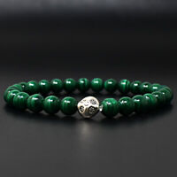 116 Cts Earth Mined Malachite Round Shape Beads Stretchable Bracelet JK-43E286