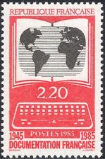 France 1985 Information Service/Computer/Book/World Map 1v (n44210)