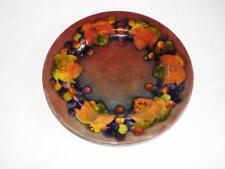 """Vintage Moorcroft flambe 9.5"""" plate in Leaf & Berry pattern."""