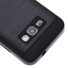 Samsung Galaxy EXPRESS 3 -HARD TPU HYBRID BRUSHED METAL TEXTURE BLACK CASE COVER