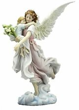 "11"" Guardian Angel Holding Baby Statue With Figure Catholic Decor de la Guarda"