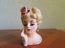 Vintage 1961 Inarco Japan Head Vase Lady in Lavender Pearl Earrings Foil & Mark