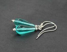 AQUA Blue Green Earrings ~ 925 Sterling Silver ~ Czech Glass Tear Drop NEW BNWT