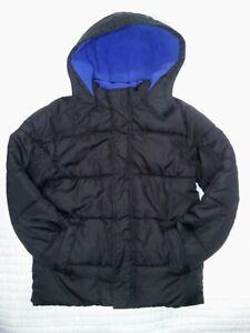 Faded Glory Boys Youth L 10 12 Black Puffer Jacket Hooded Blue Fleece EUC