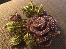 Swavorski crystal purple rose hair jewelry barrette