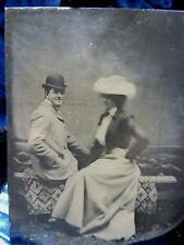 ANTIQUE TINTYPE HAPPY SMILING  courting couple NICE POSE