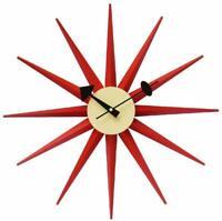George Nelson Sunburst Design Clock Red