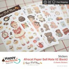 Afrocat Paper Doll Mate V2 (Basic) Stickers Planner And Others Supplies 6 sheets