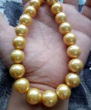 """18""""13-16mm south sea golden pearl necklace 14k gold clasp"""