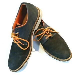 1901 Mens Size 9.5M Blue Suede Denim Canvas Oxford Saddle Shoes Orange Lace Up