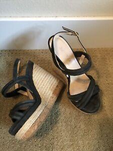 Jimmy Choo Nadym Wedge Sandals Platform Espadrille Suede Navy EU 37.5 7.5 US