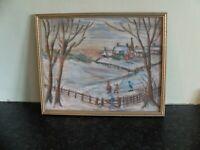 Nieve style pastel drawing of winter scene