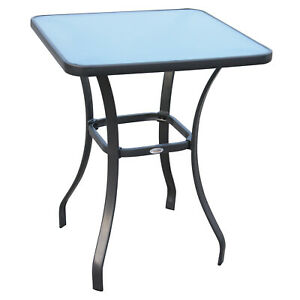Modern Garden Bar Table Glass-Top Compact Outdoor Patio Bistro Furniture Black
