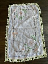 Vintage Hand Embroidered Table Runner Dresser Scarf Crocheted Lace Edges 19 x 12