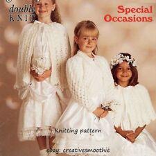 (105) DK Knitting Pattern Girls Special Occasions, Cardigan Cape Bolero, 20-30''