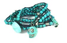 Gothic Skull Wrap Bracelet Black & Turquoise Crackle Bead Halloween Jewellery