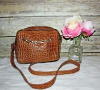 Vntg Jones New York Tan Brown Croc Embossed Leather Purse Shoulder Bag Crossbody