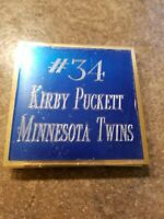 "Kirby Puckett Minnesota Twins #34 name plate  3"" x 3"""