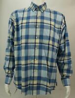 Jos. A. Bank Tailored Fit Men's Long Sleeve Button Up Blue Check Dress Shirt L
