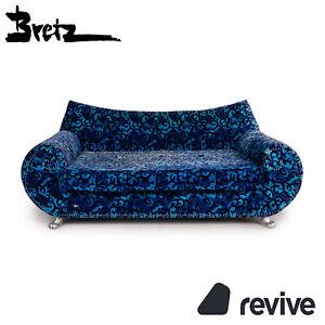 Bretz Gaudi Samt Stoff Sofa Blau Dreisitzer Sofa