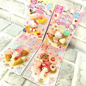 Lot of 4 Hello Kitty & My Melody Eraser Made in Japan Sanrio