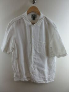 GUESS Mens Shirt Size M Short Sleeve Button Up Regular Fit White Solid
