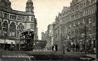 Old Square Birmingham postcard antique printed social history trams