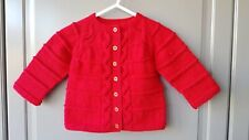 Handmade knitted baby girl red seamless long sleeved cardigan, size 3-6 months