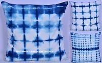 Indian Handmade Tie Dye Cushion Pillow Cover Hippie Boho Pillow Sham Indigo Blue